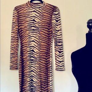 Vintage-style Tiger Print Midi Length Dress